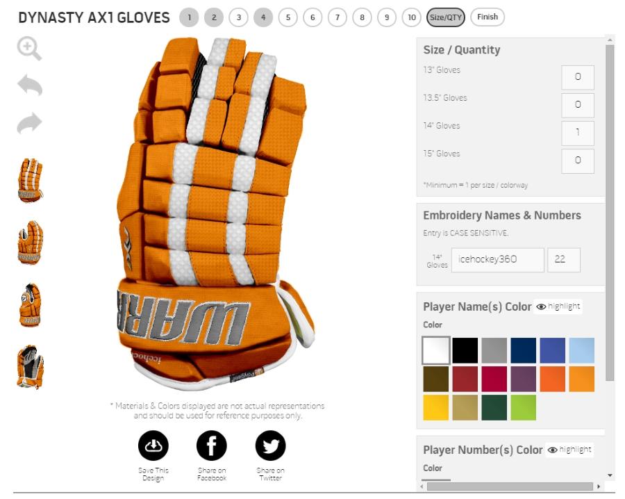 Доступные размеры перчаток и опции нанесения имени и номера игрока.