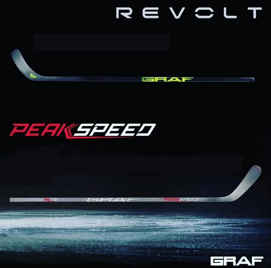 Две линейки клюшек Graf: Revolt и PeakSpeed.