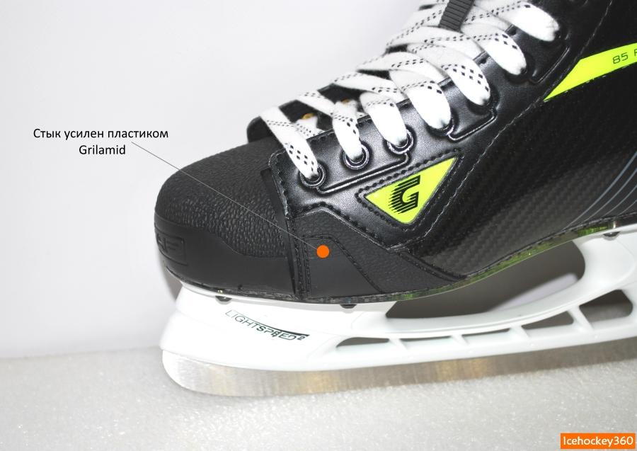 Усиленный стык пластикового мыска и стенки ботинка.