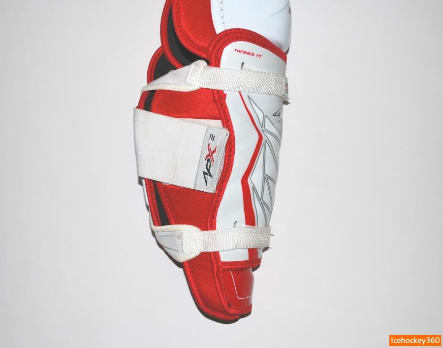 Три элемента фиксации щитков на ноге.