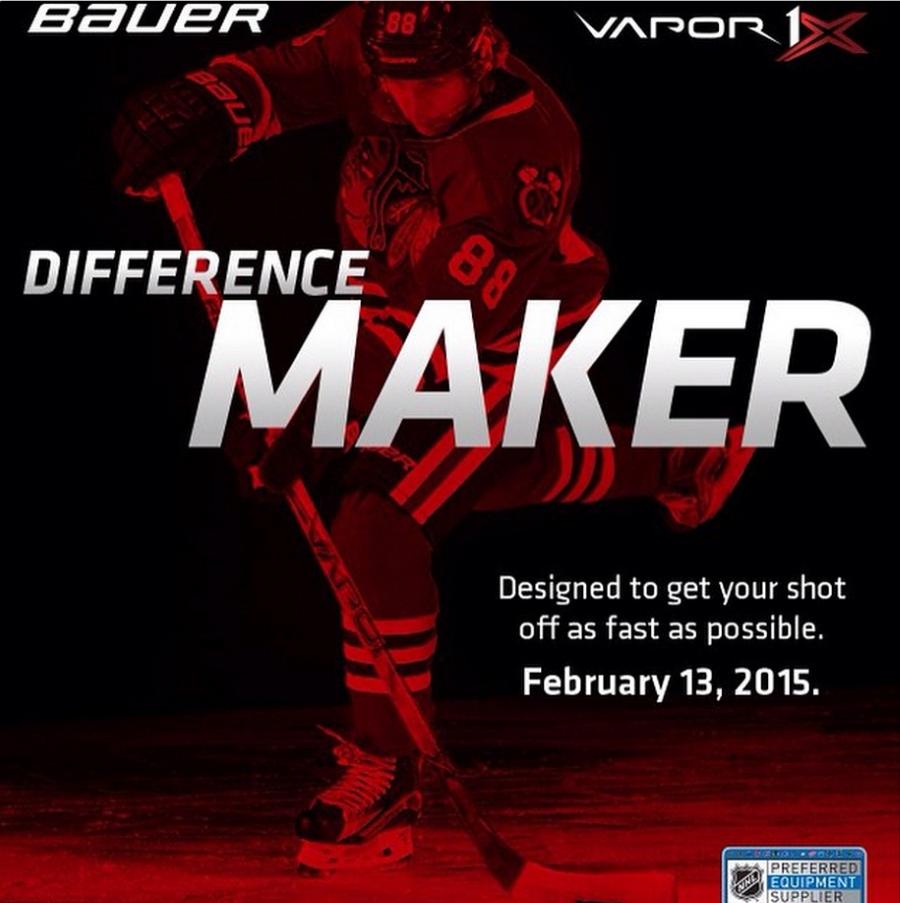 А так выглядела реклама клюшки Bauer Vapor 1X.