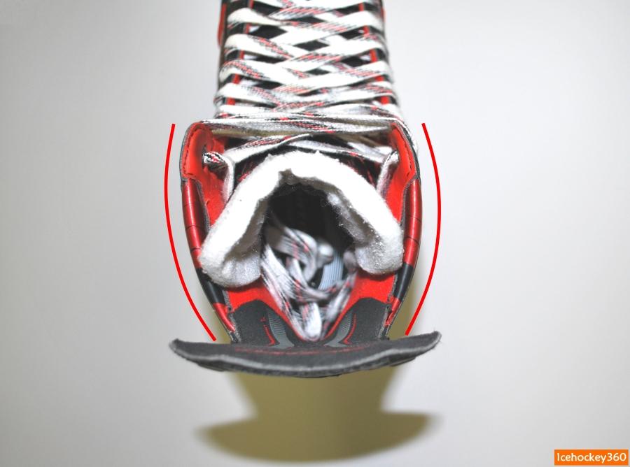 Изменение очертания верхней кромки ботинка.