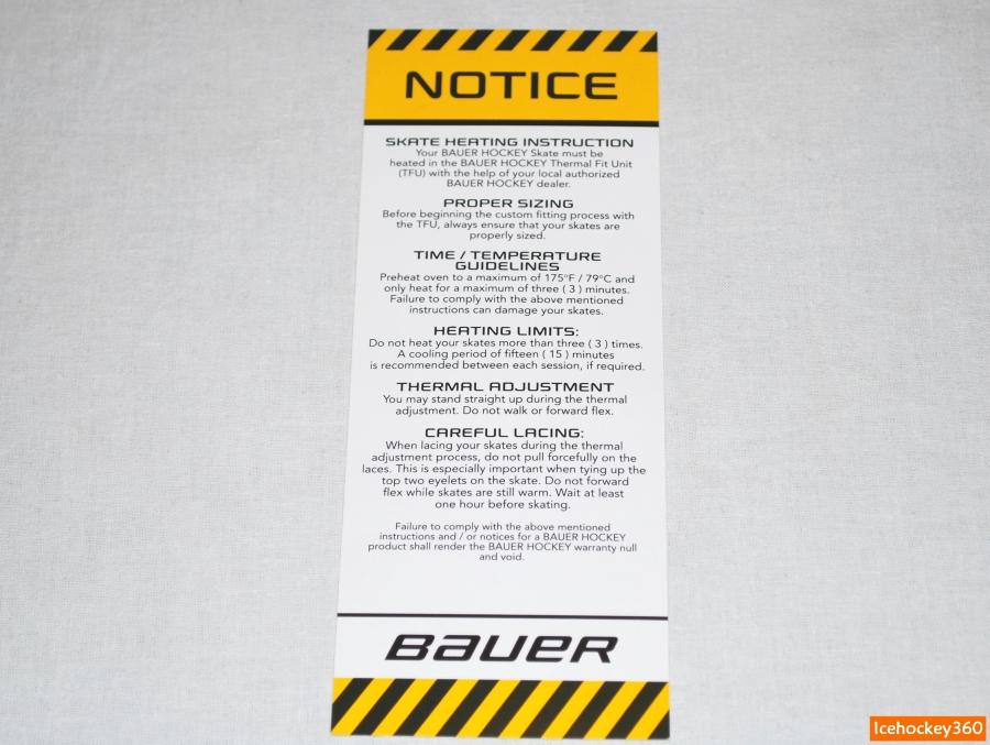 Инструкция по процессу термоформовки коньков Bauer.