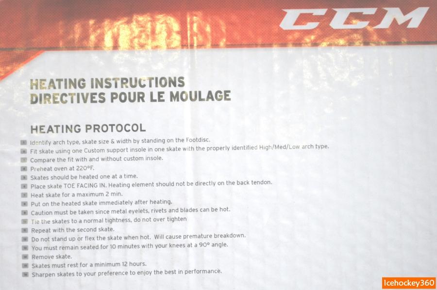 Инструкция по термоформовки коньков наклеена на крышку с внутренней стороны.