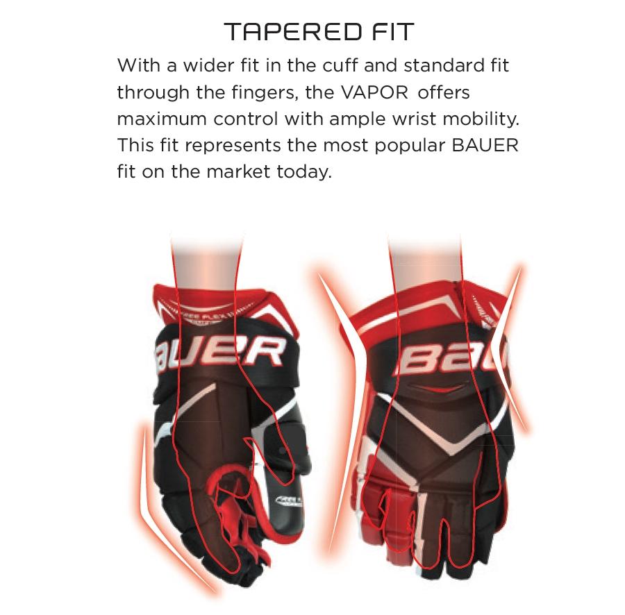 Зауженная посадка перчаток Bauer семейства Vapor.