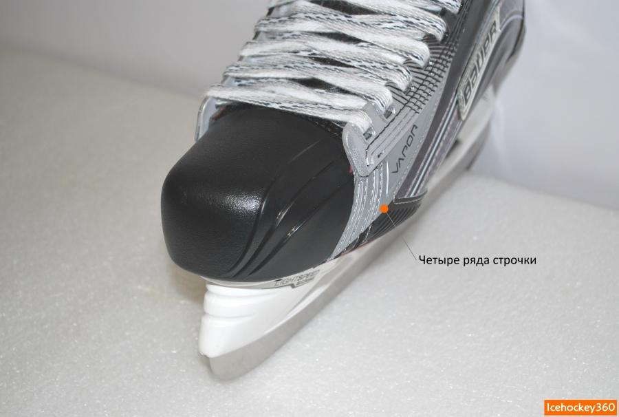 Система крепления пластиковой защиты мыска с боковой частью ботинка.