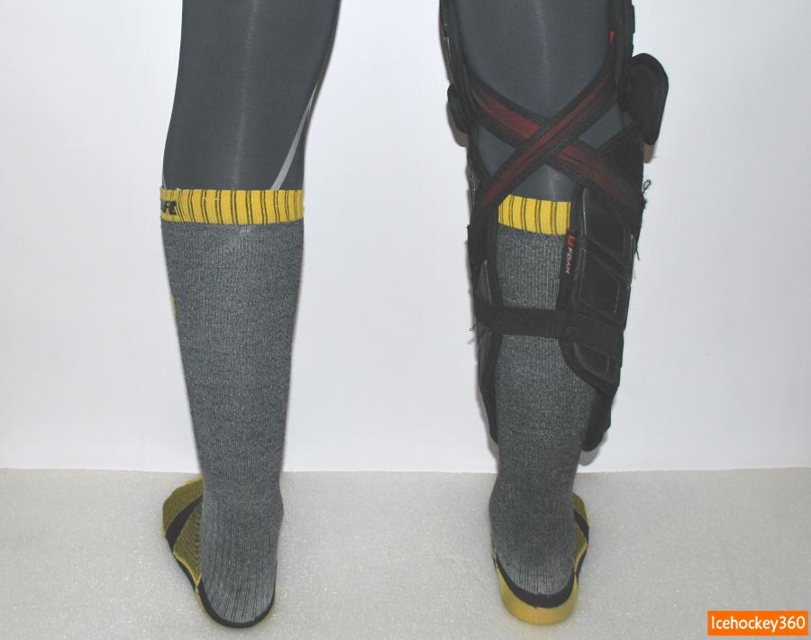 Посадка дополнительной защиты на ноге. Объем икроножной мышцы — 41 см.