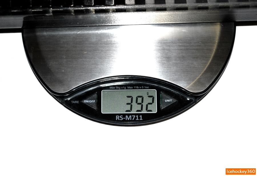 Вес клюшки Sher-Wood Rekker EK15 в версии 85 flex, загибом РР26 и покрытием grip — 392 гр.