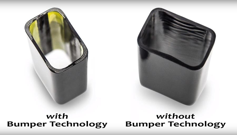 Сравнение рукояток с технологией Bumper и без нее.