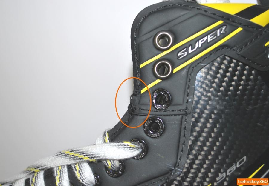 Выдернутый шов: последствия трения со шнурками.